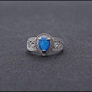 .925 Sterling Silver 3 Carat Labradorite Ring